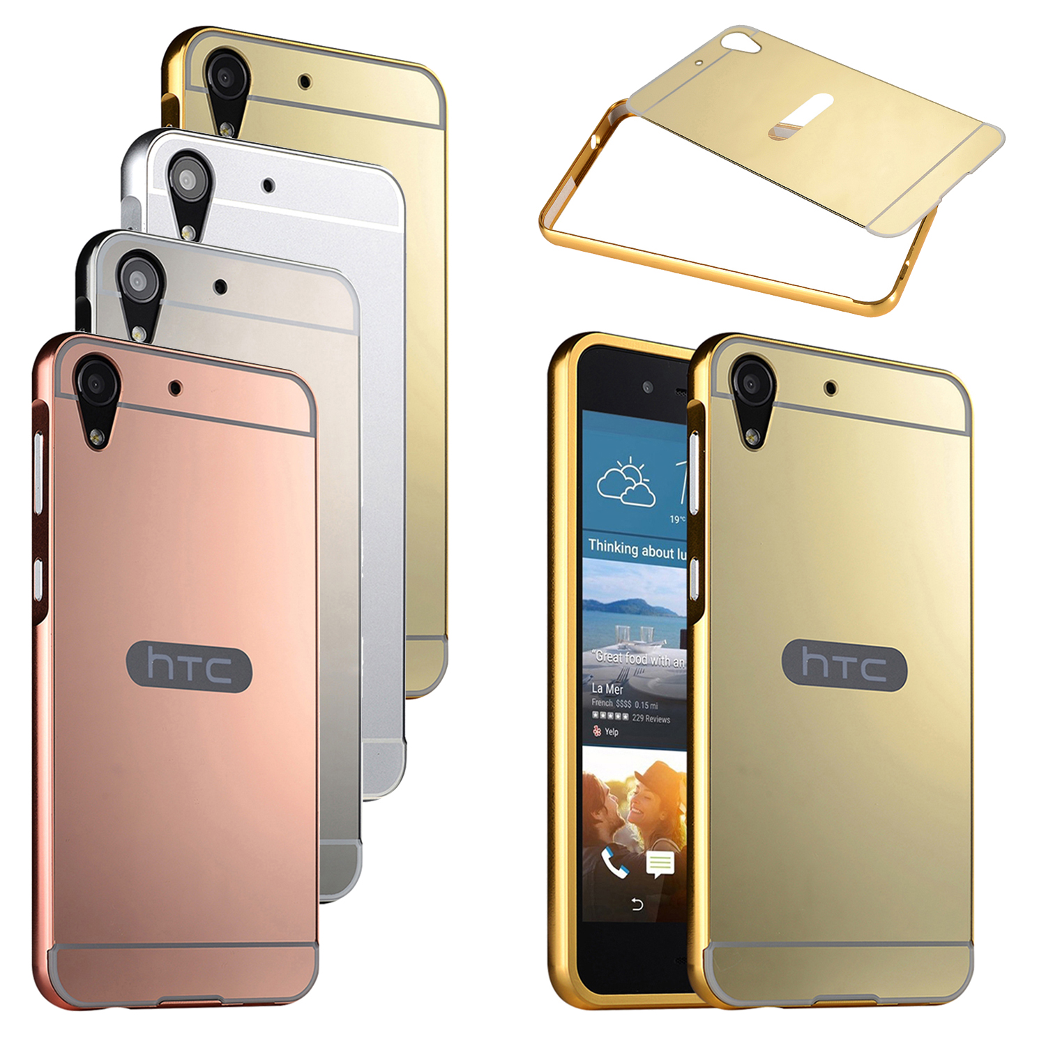 online store 54944 9531a Details about Luxury Mirror Back Cover Metal Aluminum Frame Case Skin For  HTC Desire 728