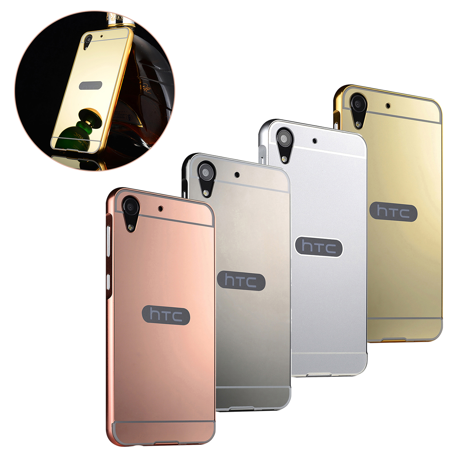 competitive price 1f90a 86ecc Details about Luxury Mirror Back Cover Metal Aluminum Frame Case for HTC  Desire 626 820 728