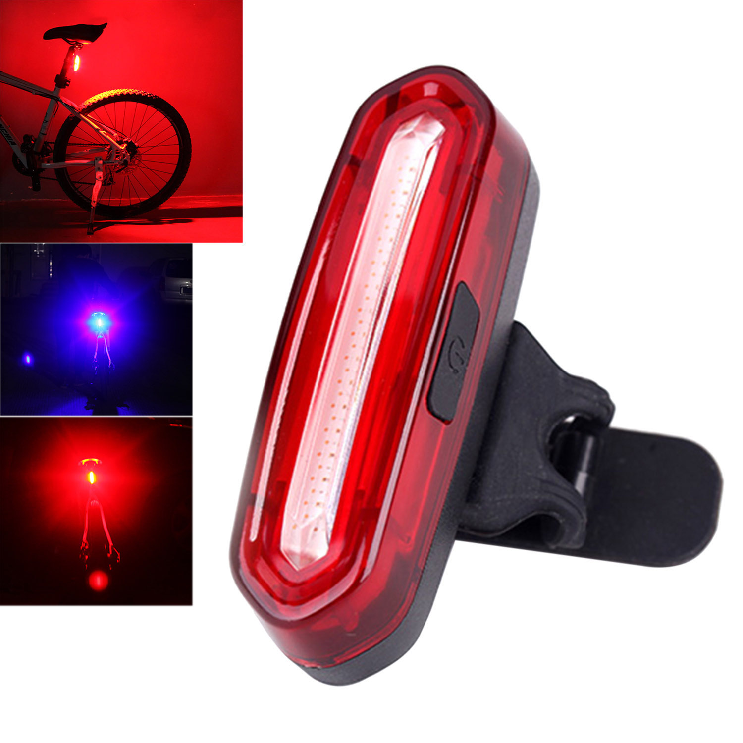 6 Modes Bicycle USB Rechargeable LED Bike Cycling Front Rear Tail Light Lamp Set