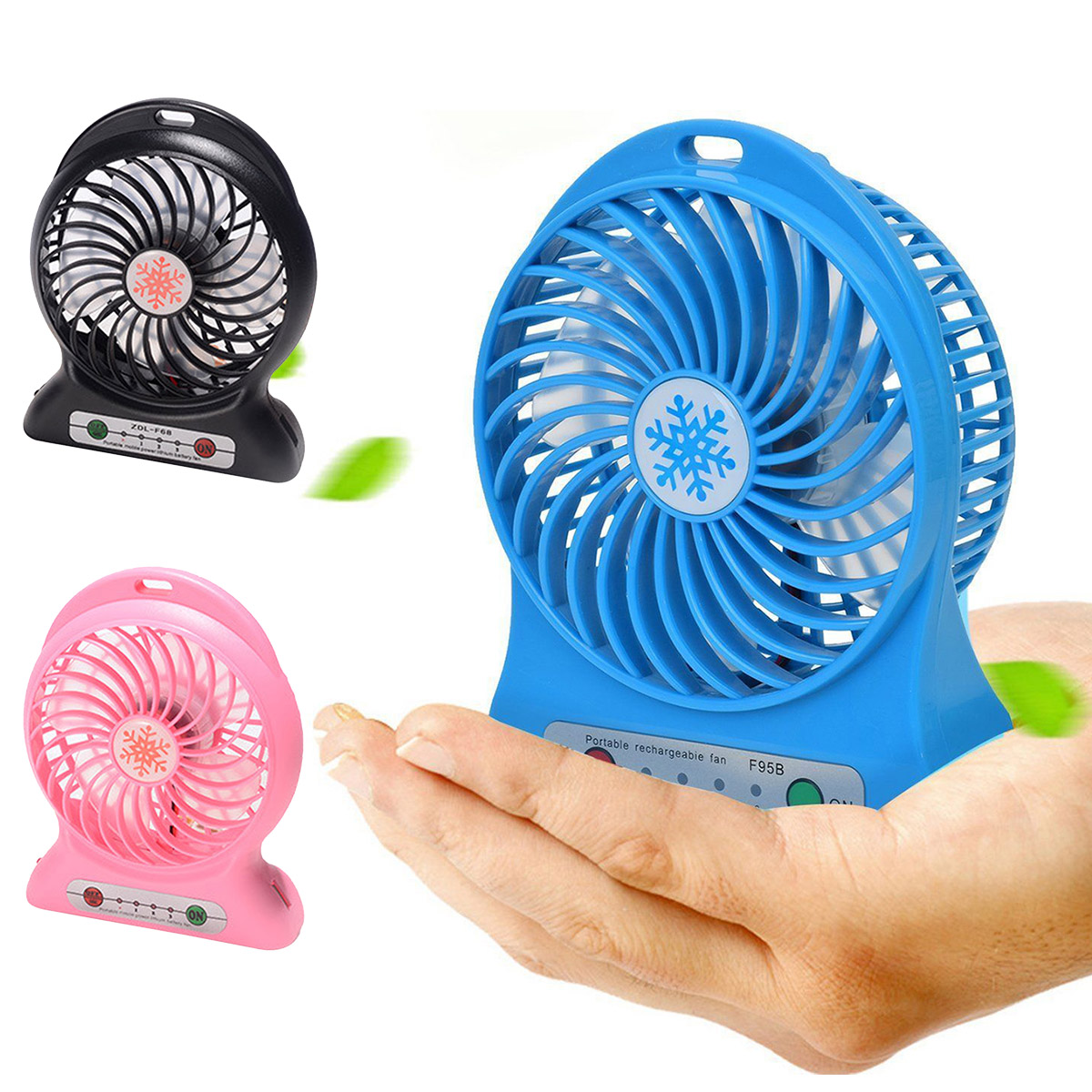 Baluue USB Mini Fan Creative Portable Rechargeable Personal Fan Foldable Double Leaf Fan Blue