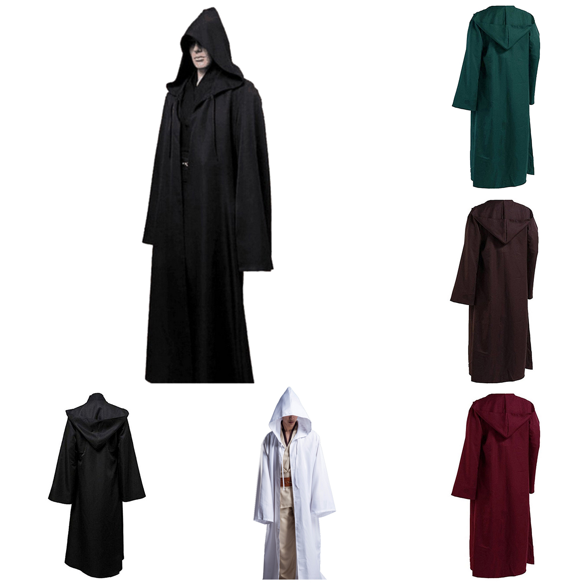 Halloween  Black polyester jedi robe for fancy dress