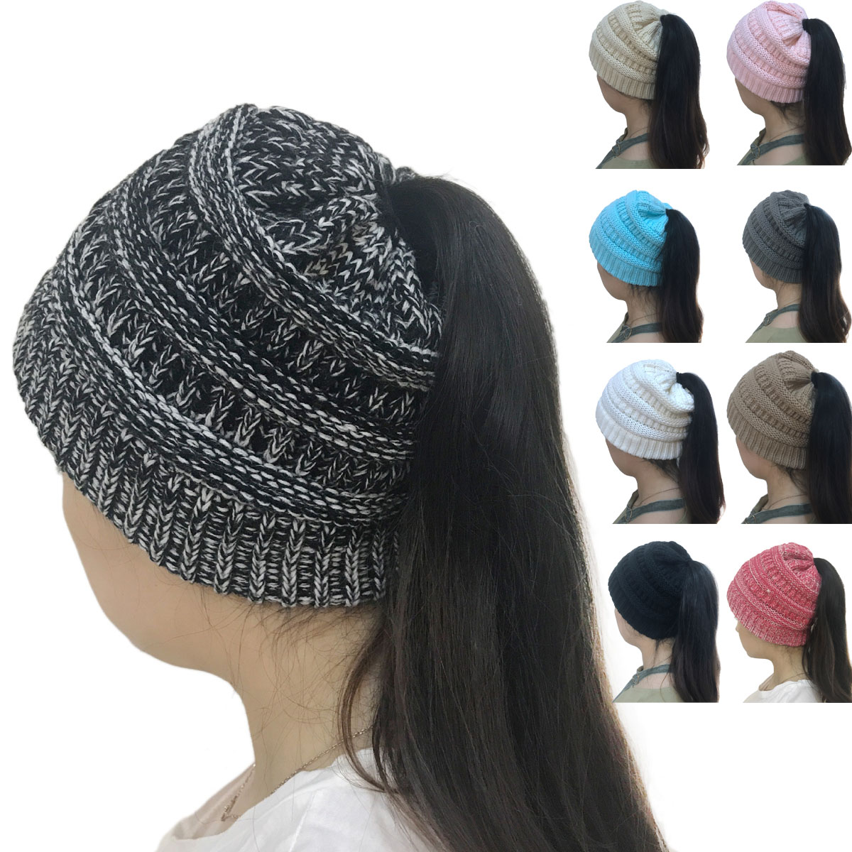 fed6949dc Details about Fashion Women Stretch Knit Hat Bun Ponytail Beanie Holey Warm  Winter