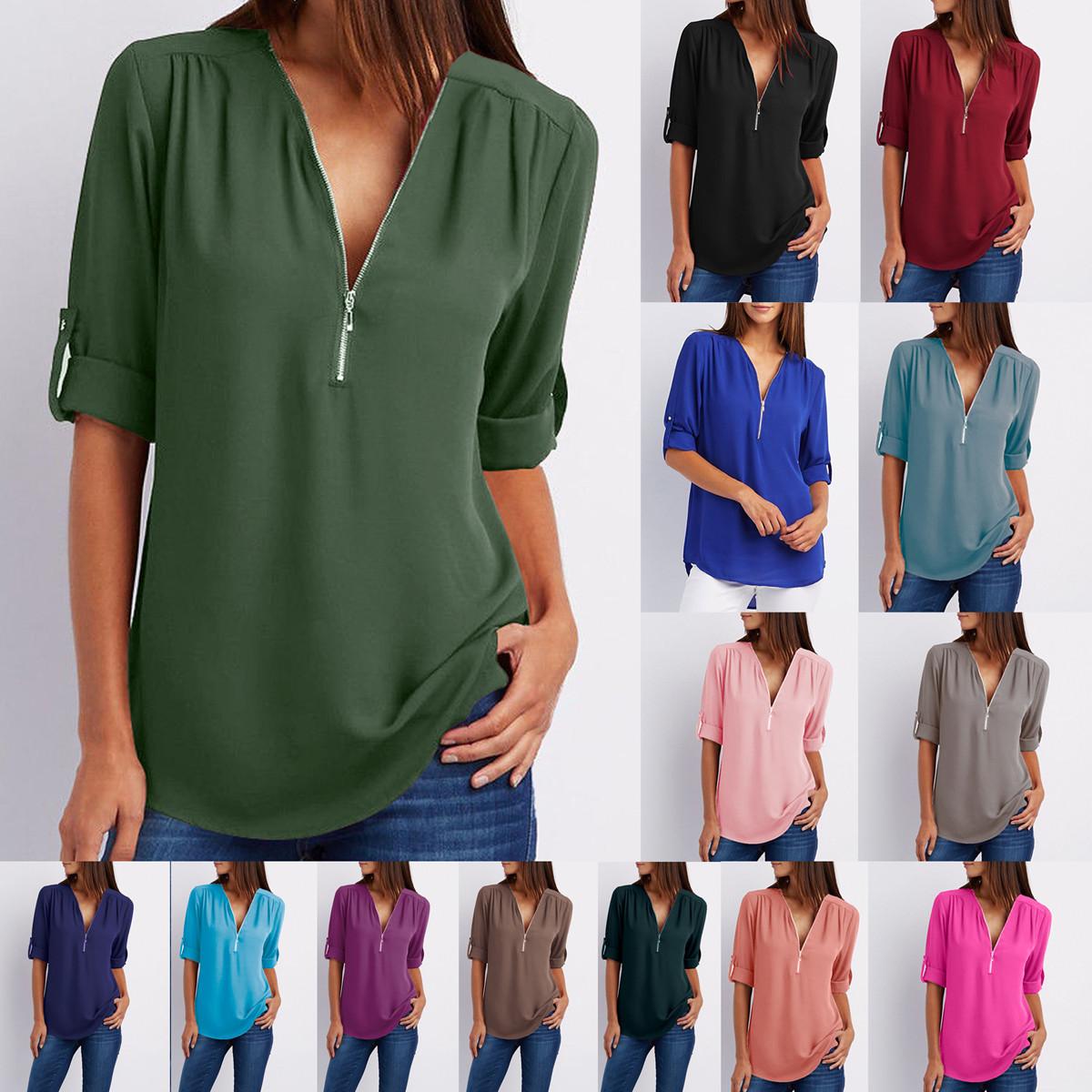Womens Casual Chiffon Long Sleeve T-Shirt Tops