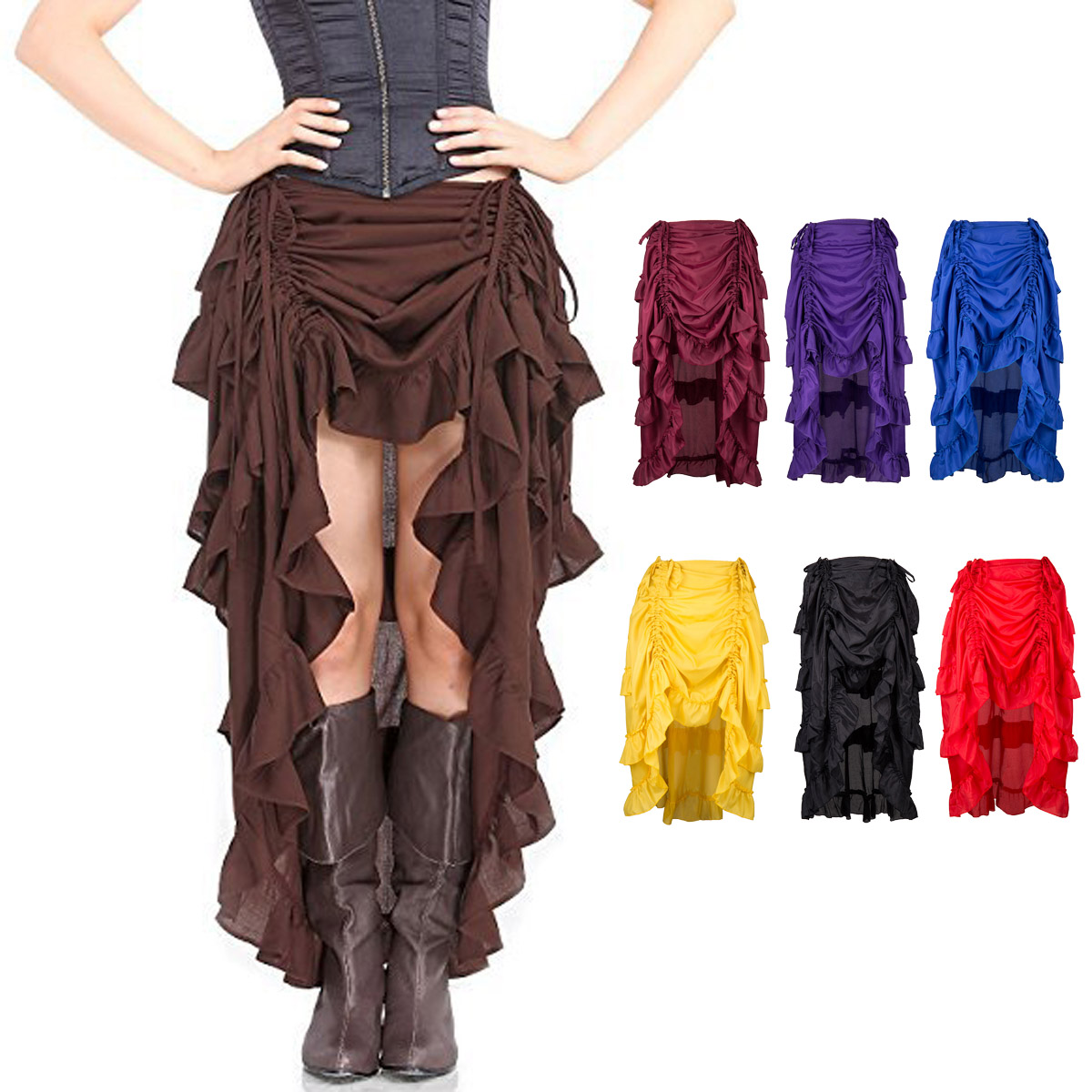 Long skirt steampunk  pirate with folds