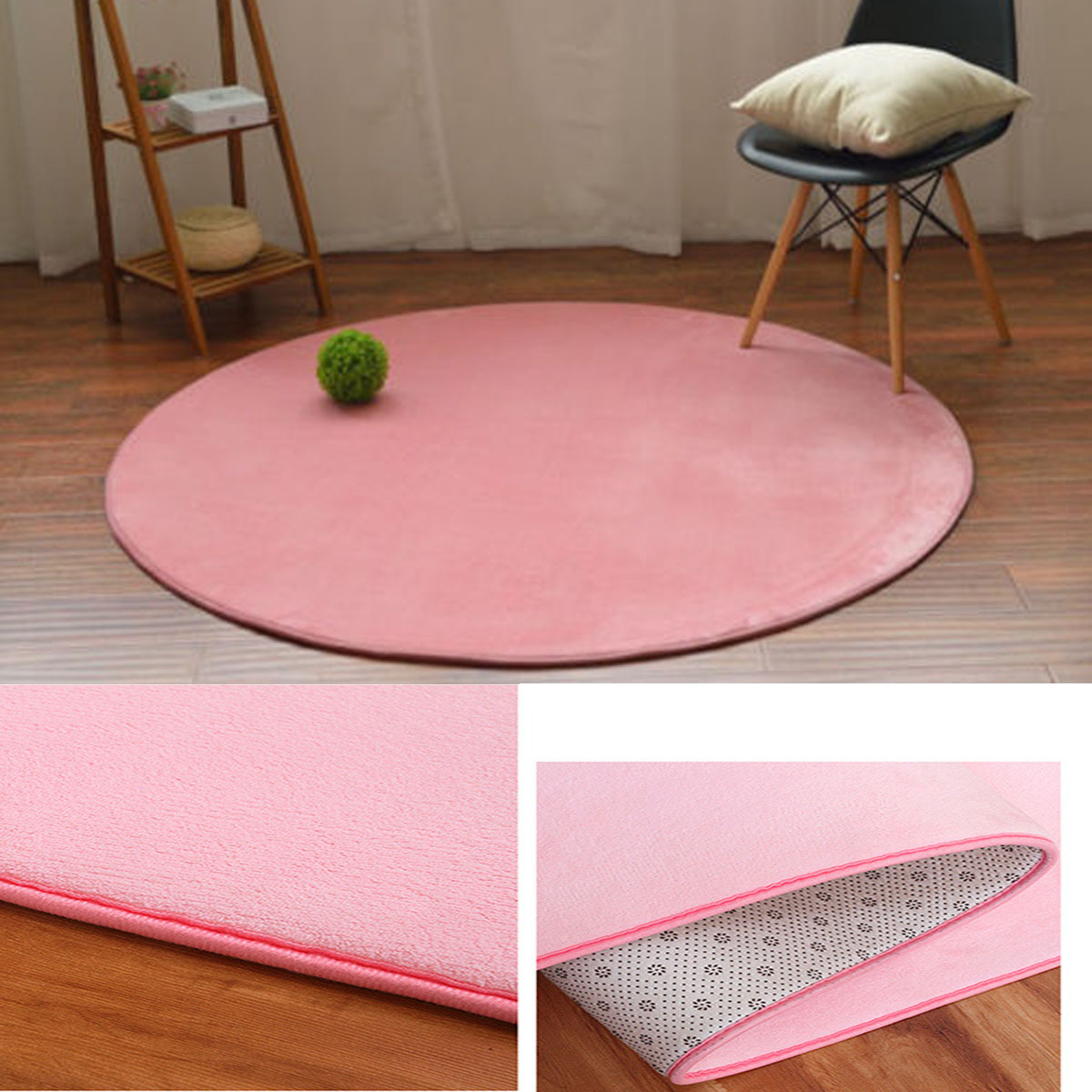 Details About Round Cute Mat Kids Harmless Blanket Carpet Rug Pink
