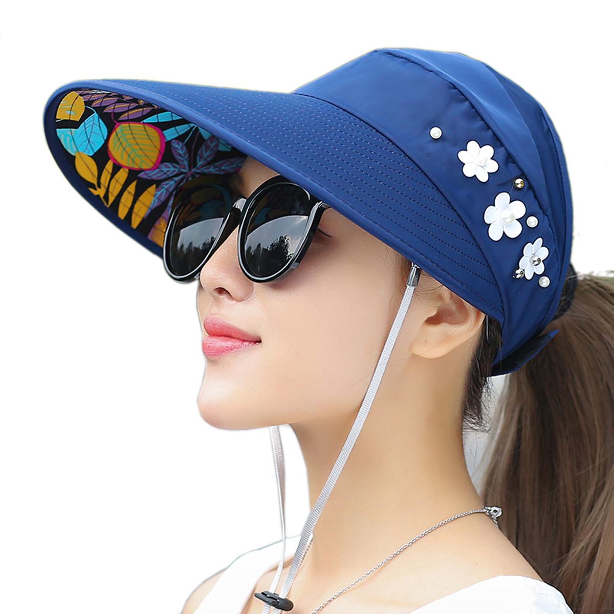 fe9977b8e0c Details about Women Lady Sun Hat Wide Brim UV Protection Summer Beach Visor  Cap
