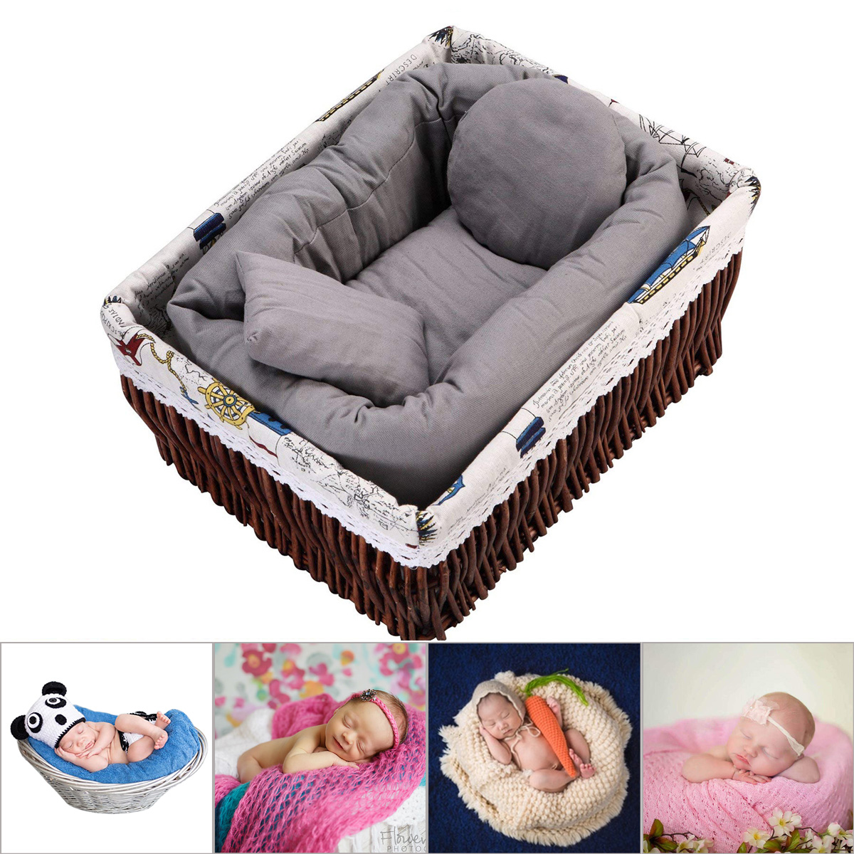 Picture of: 4pcs Set Baby Newborn Pillow Basket Filler Wheat Donut Photography Props Rw Ebay