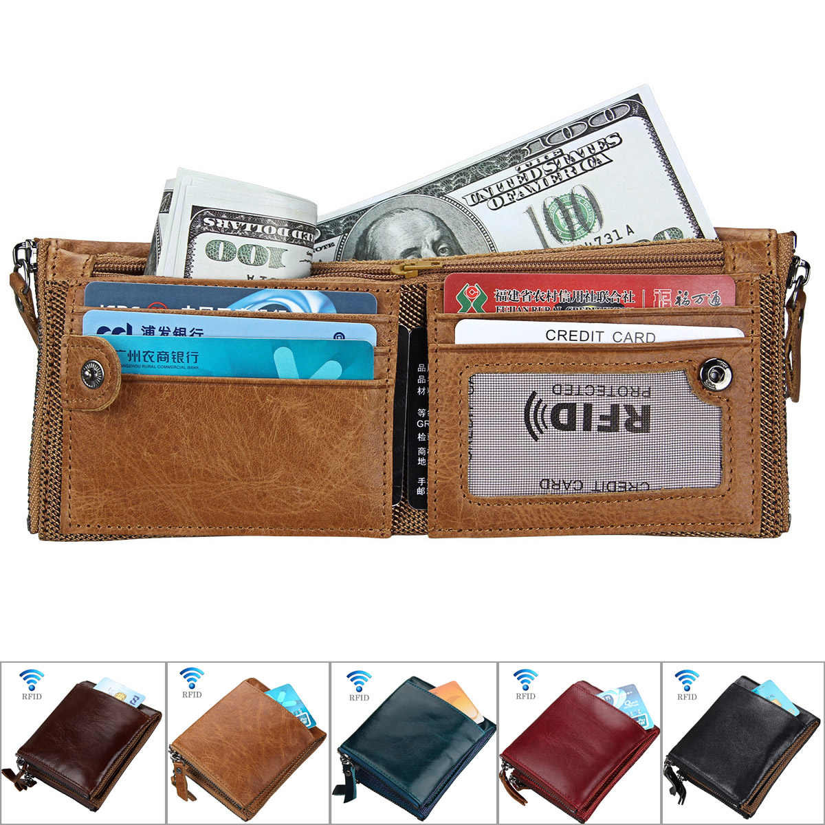 Mens Tan Leather Wallet RFID Blocking Open Bifold Letter Print Thin Short Bifold Open 12-Card Slots