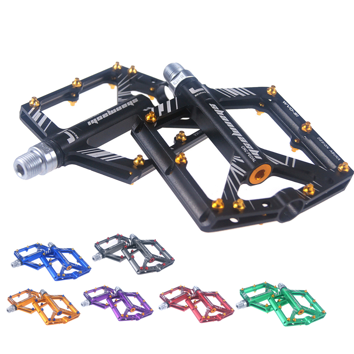 "Hot Cycling Alloy Flat-Platform Pedals 9//16/"" MTB Bike Bicycle 8 Sealed Bearing"