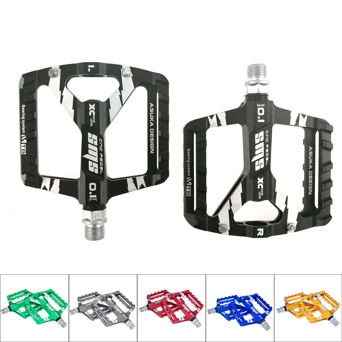 Mountain Bike Pedals Cycling Road MTB Pedals Flat Platform Plastic Bicycle Parts