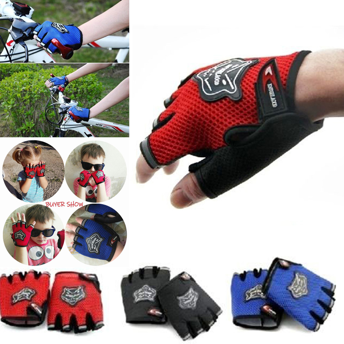 Kid//Men Cycling Gloves Bike Half Finger Sports Bicycle Fingerless Padded Durable