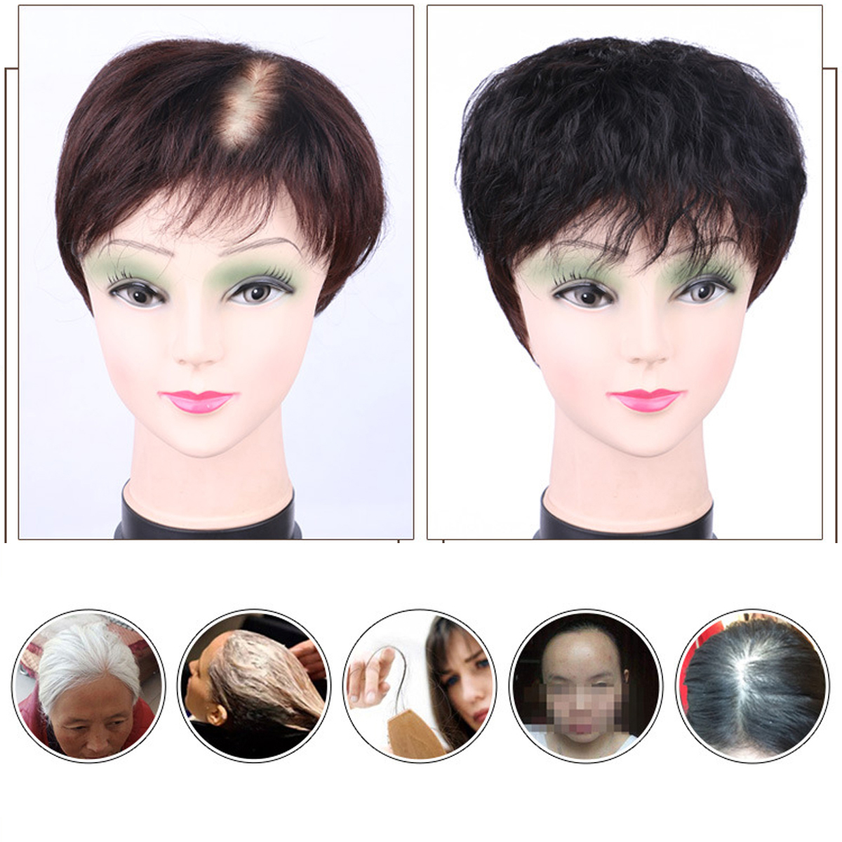 Details about 12% Human Hair Short Wigs Topper Toupee Hairpiece Top Wig  12cm For Women Man
