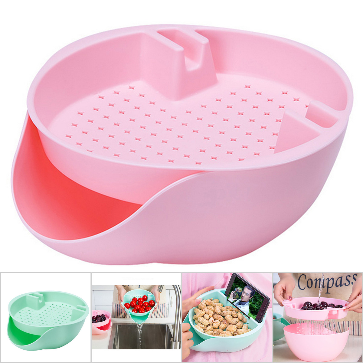Hot Plastic Double-layer Snack Fruit Nuts Bowl Mobile Phone Bracket Storage Box
