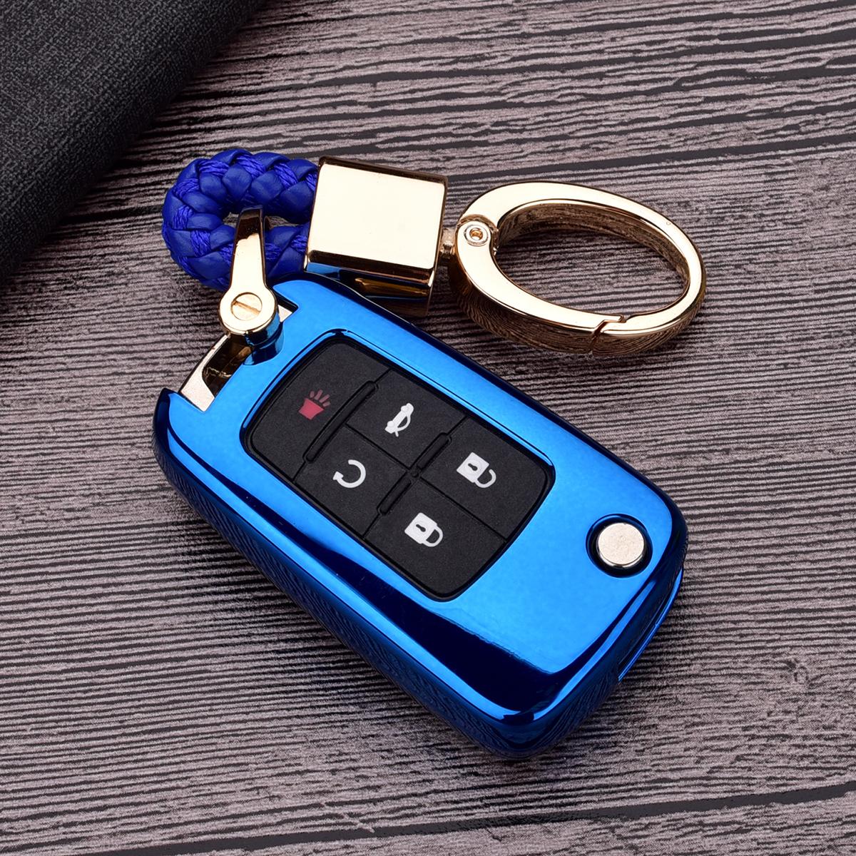 Blue Aluminum Alloy Car Key Case Shell Covers Fob For 2015-17 Subaru Keyless Key