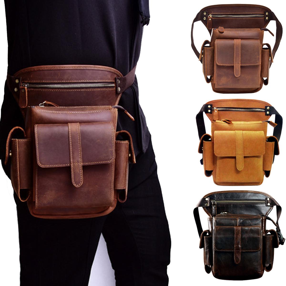 Vintage Waist Bag Leather Drop Leg Bag Men Women Bum Bag Multi Function