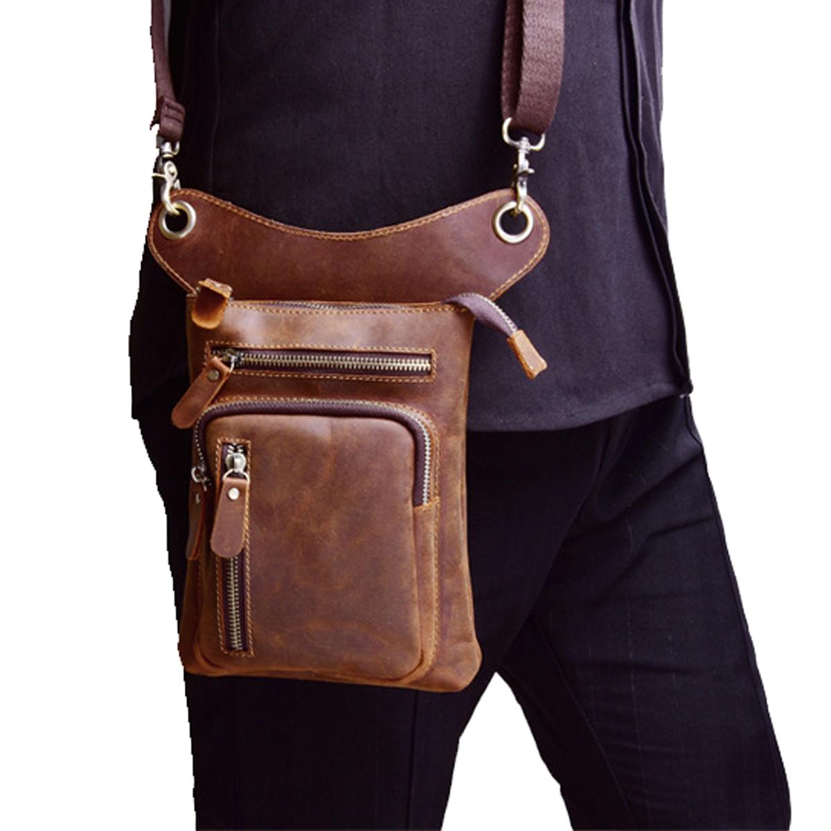 Waist Hip Belt Fanny Pack Crazy Horse//Oil Wax Genuine Leather Men Leg Drop Bag
