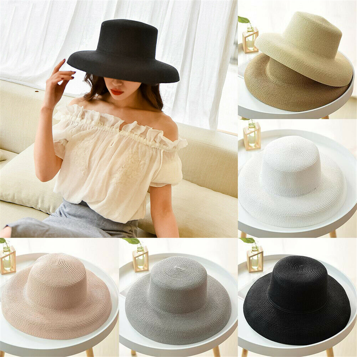 Comhats Women Summer Straw Sun Hat SPF Wide Brim Foldable Cool Beach Sunhat Outdoor Gardening Travel Hat Khaki