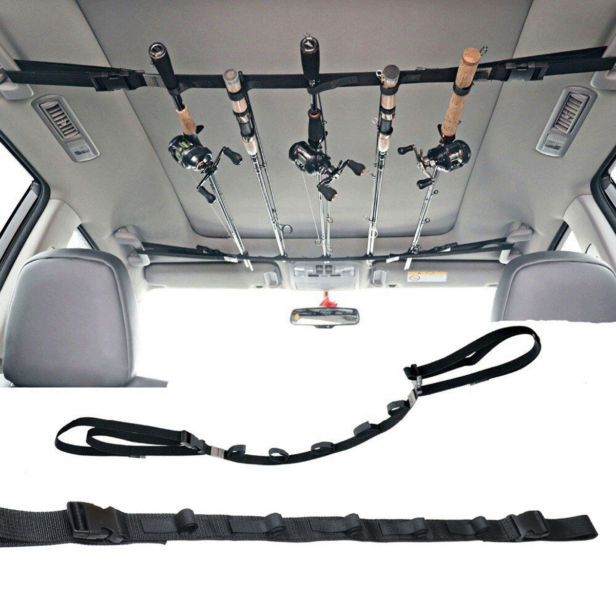 5 Holes Car Fishing Rod Carrier Belt Rod Holder Strap with Tie Suspenders US