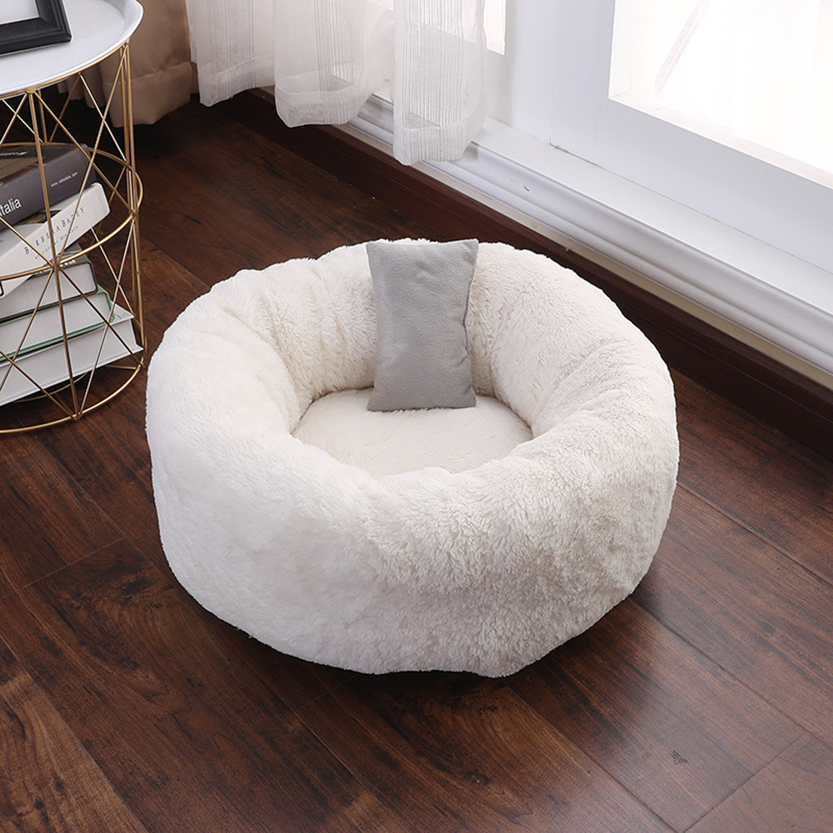 Large Shaggy Fluffy Fur Pet Bed Dog Puppy Cat Kitten Donut