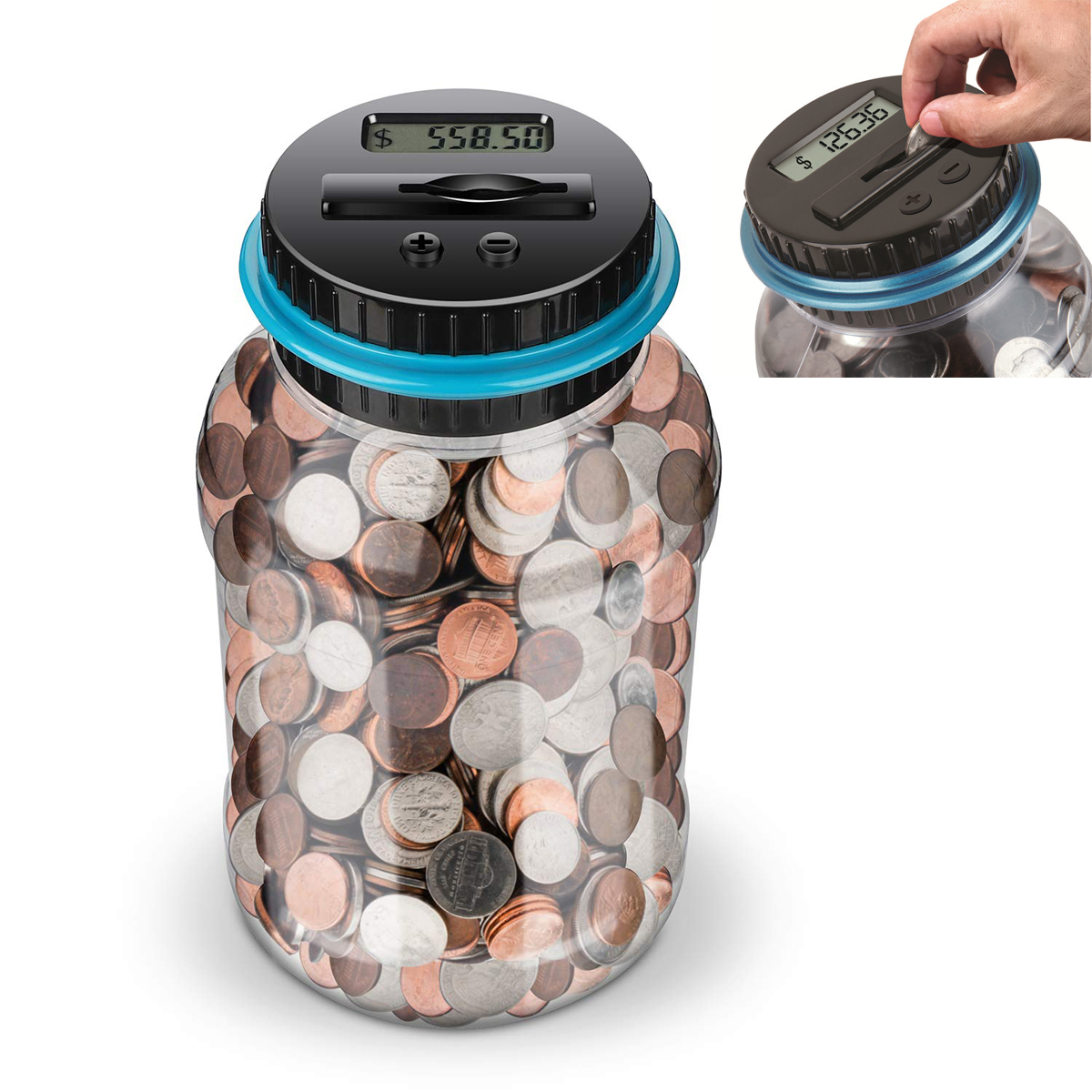 Digital Coin Savings Jar Automatic Coin Counter Piggy Bank With LCD Display