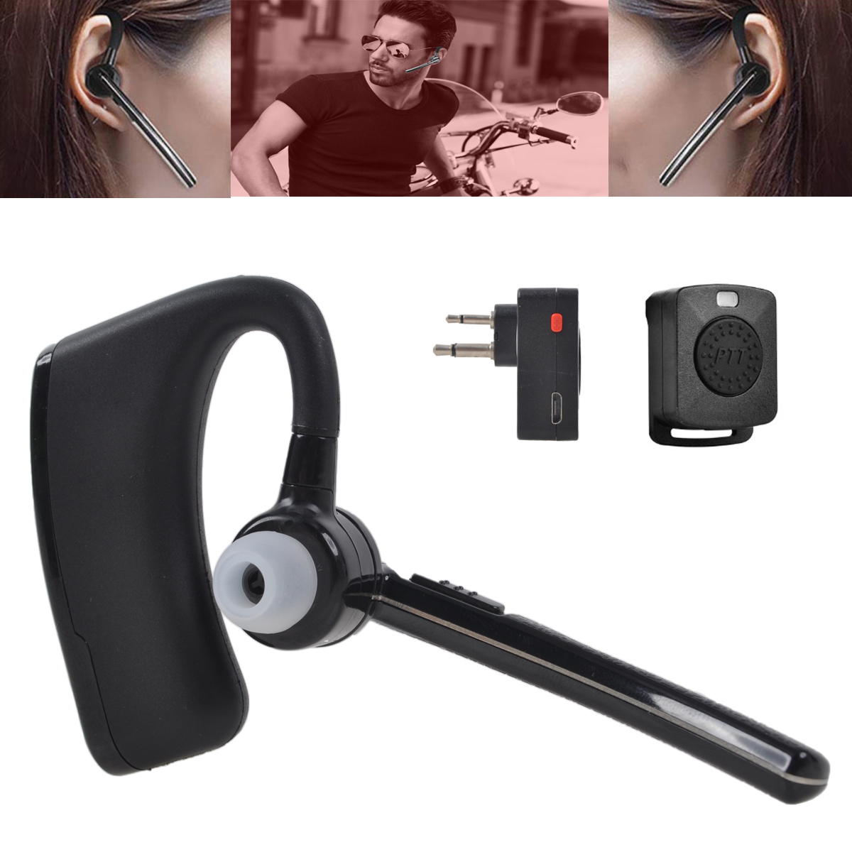 Walkie Talkie Bluetooth Headset Earpiece Ptt Remote For Motorola 2 Way Radio Ebay