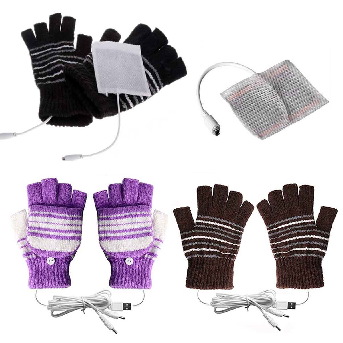 Laptop Women Men USB Heated Mitten Full/&Half Finger Winter Warm Knit Hand Gloves