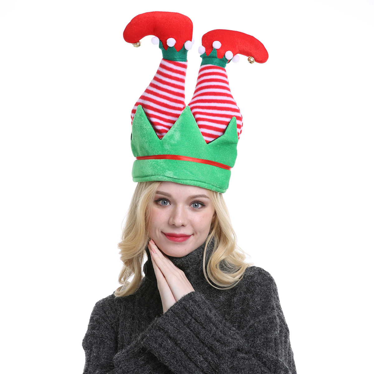 12 Christmas Xmas Novelty Felt Party Santa Elf Hats Fancy Dress With 3D STICKERS