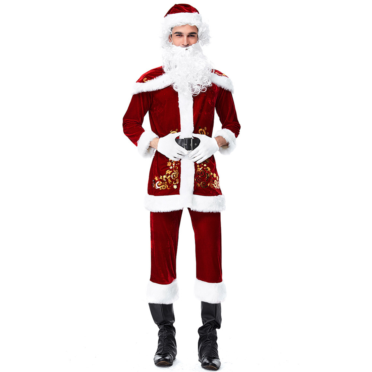 Christmas Santa Claus Costume Plush Size Deluxe Velour Party Suit Adult Cosplay
