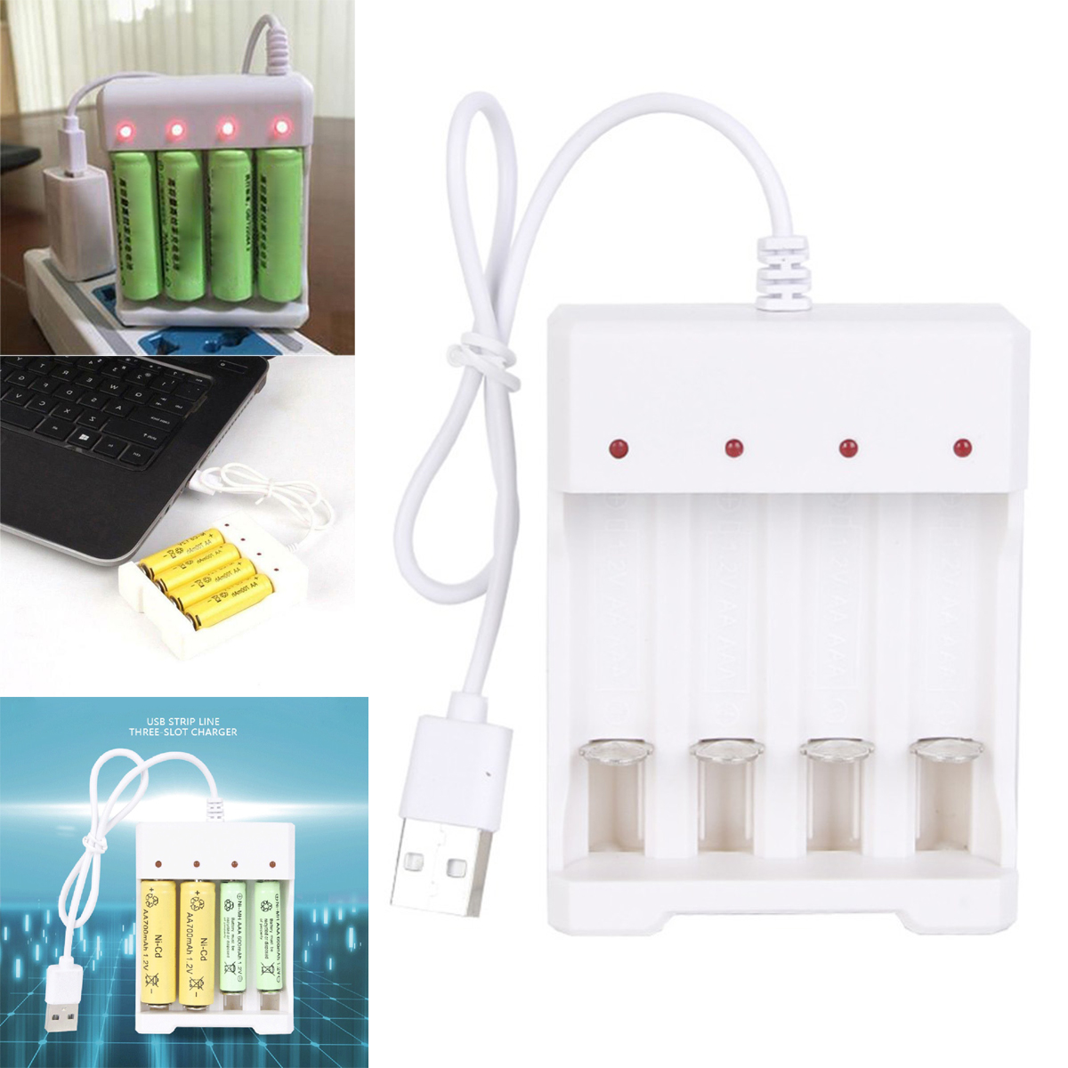 USB Fast Charging Li-ion//Ni-MH Battery Charger For AA//AAA Battery White 4 Slots