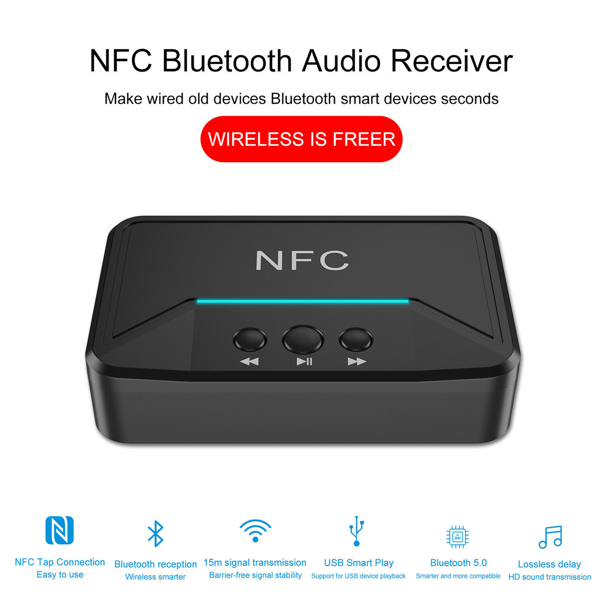 Wireless Bluetooth Receiver 5 0 Aptx Ll Rca Nfc 3 5mm Jack Aux Audio Adapter New 603922699675 Ebay
