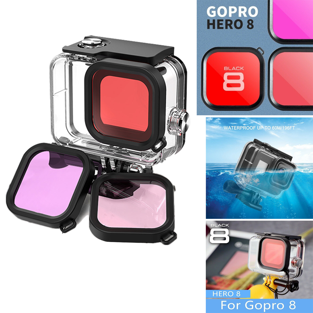 IP68 for Gopro Hero 8 Black Accessories Waterproof Protection Housing Case Diving 60M Protective for Gopro Hero 8 Sports Camera
