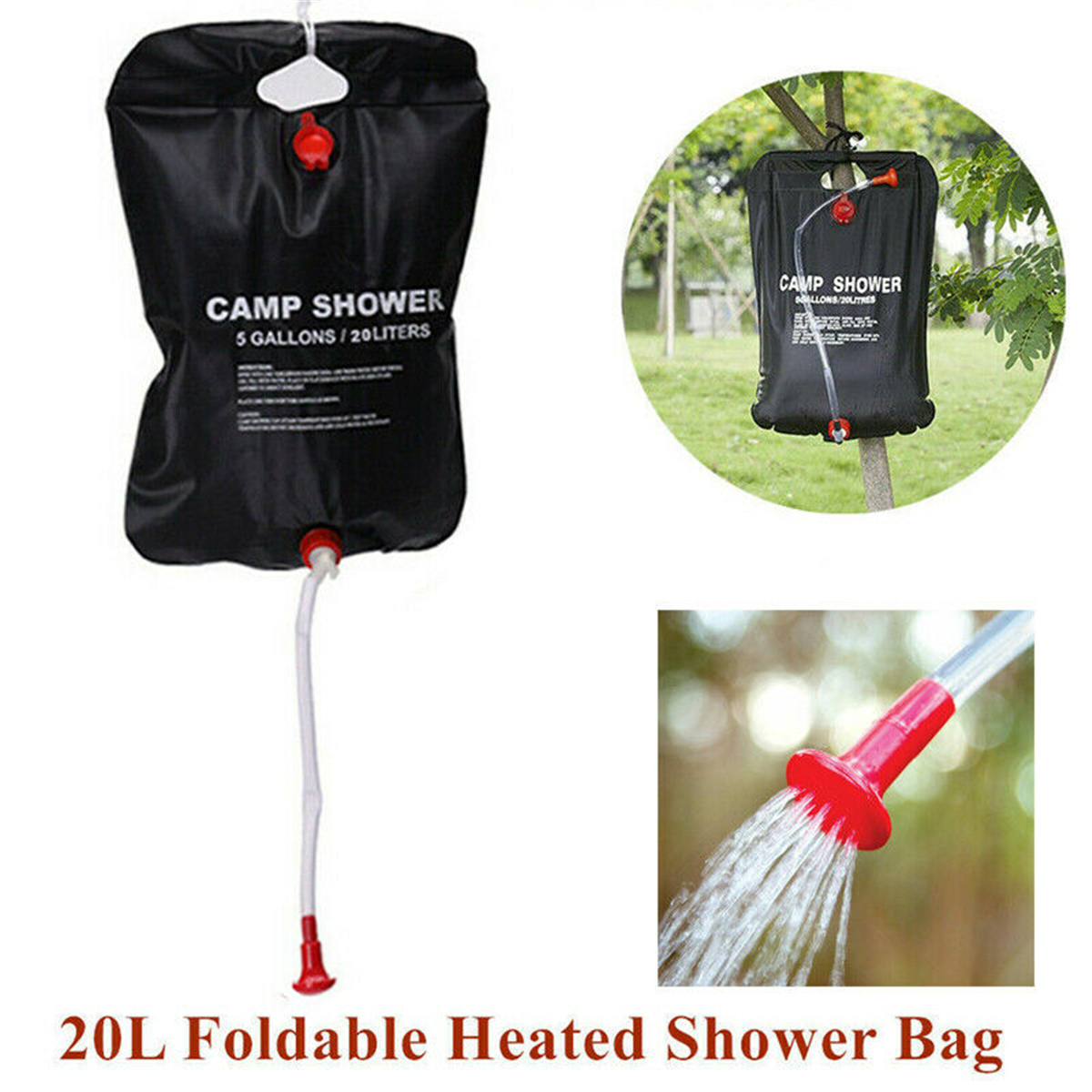 20L Water Bag Foldable Solar Energy Heated Camp PVC SHOWER BAG OUTDOOR CAMPING