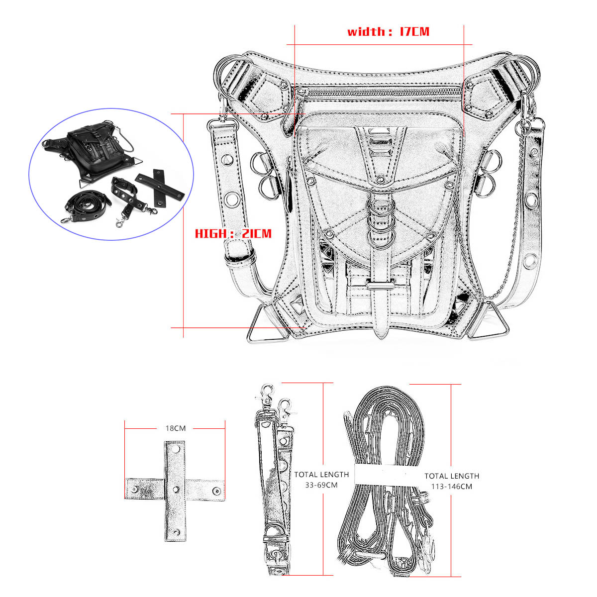 Steampunk Retro Motorcycle Bag Rock Gothic Shoulder Waist Bag Drop Leg Bag